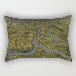 Vintage Bird's Eye Map of Tennessee & Kentucky (1862) Rectangular Pillow