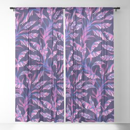 Paradise Leaves - Pink / Blue Sheer Curtain