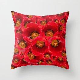 Venetian Red Tulips Throw Pillow