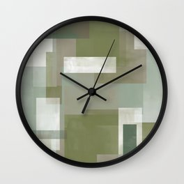 Modern Abstract No. 2   Sage, Blue-Green, Taupe, White + Peacock Wall Clock