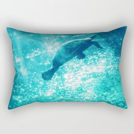 teal water with sea turtle abstract wildlife photography Rectangular Pillow