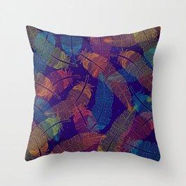 Neon Feathers Throw Pillow