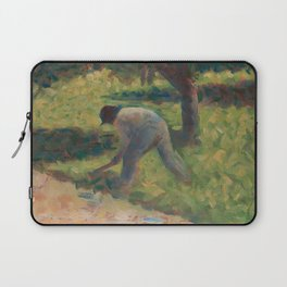 Peasant with a Hoe Oil Painting by Georges Seurat Laptop Sleeve