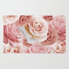 Soft Pink Roses Rug