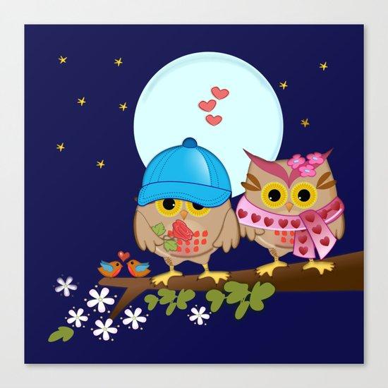Blue moon Valentine's Owls Canvas Print