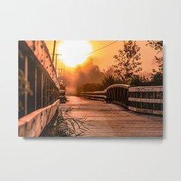 A beautiful sunrise view from a park footbridge Metal Print
