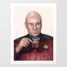 Tea. Earl Grey. Hot. Captain Picard Star Trek | Watercolor Art Print