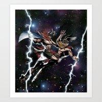 vikings Art Prints featuring Space Vikings by Go_Media