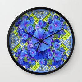 Lime-Blue Morning Glories Pattern Art Wall Clock