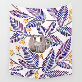Happy Sloth – Tropical Indigo Leaves Wall Tapestry
