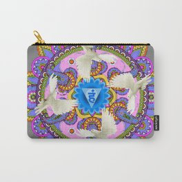 BLUE CHAKRA MANDALA WITH WHITE DOVES& PURPLE-GREY ART Carry-All Pouch
