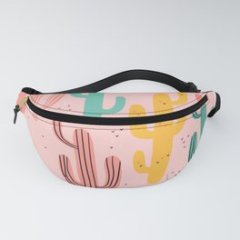 Cute cactus cartoon style drawing on pink pastel background vintage illustration pattern Fanny Pack
