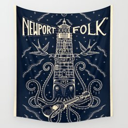 1959 Vintage Newport Folk Festival - Fort Adams, Newport, Rhode Island - Advertising Poster Wall Tapestry
