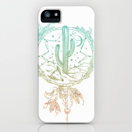 Desert Cactus Dreamcatcher Turquoise Coral Gradient on White iPhone Case