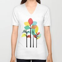 tropical V-neck T-shirts featuring Tropical Groove by Picomodi