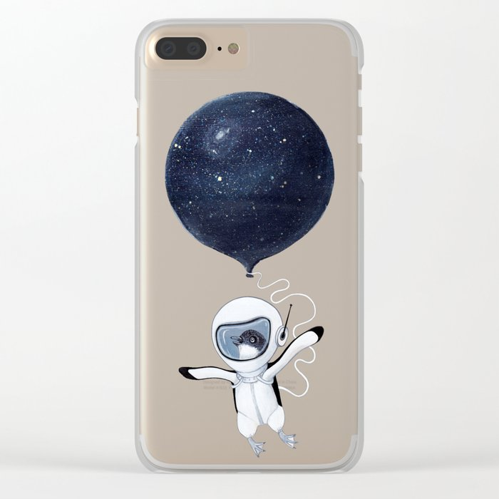Penguin fly Clear iPhone Case