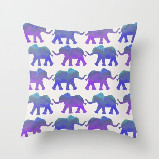 Follow The Leader - Painted Elephants in Royal Blue, Purple, & Mint Throw Pillow by Tangerine ...
