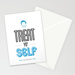 Tom Haverford, Typography Print, Parks and Recreation, TV Quote, Television - Treat Yo Self Stationery Cards
