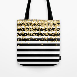 Bold Black Stripes With Gold Confetti Tote Bag