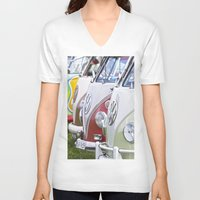 volkswagen V-neck T-shirts featuring Old Volkswagen Splitty Buses by Premium
