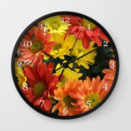 Red, yellow and orange colorful autumn daisy flowers. floral photography. Wall Clock