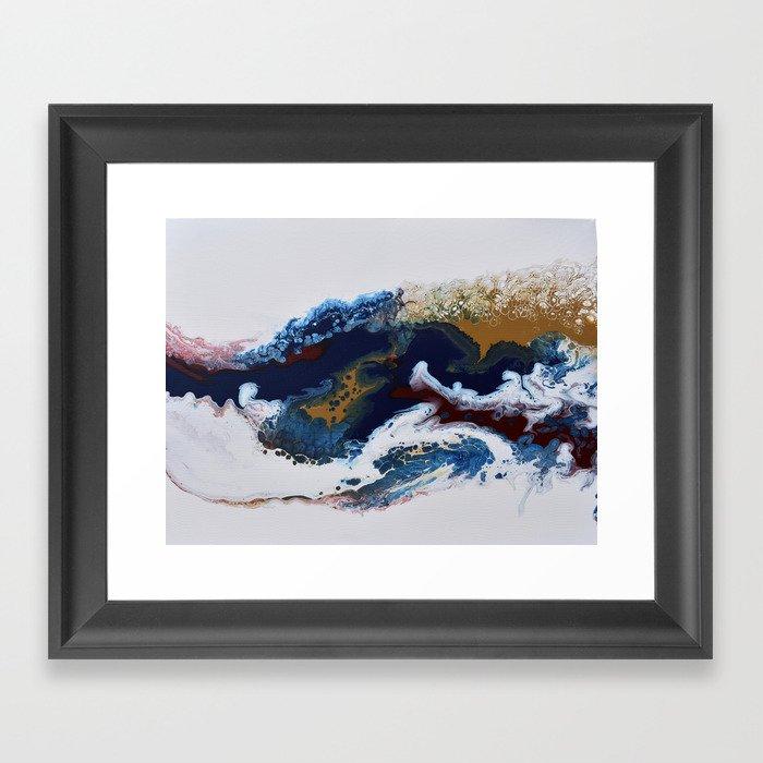 Celebration Navy Burgundy Gold Fluid Marble Painting Gerahmter Kunstdruck