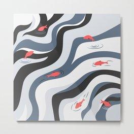 FISH IN POLLUTED OCEAN Metal Print
