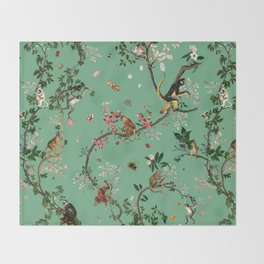 Monkey World Green Throw Blanket