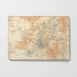Vintage Map of Athens Greece (1908) Metal Print