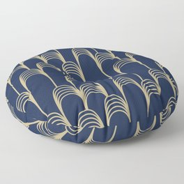 Prelude in Navy and Gold Floor Pillow