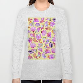 Summer Seashells in Girly Neon Colors Pattern Long Sleeve T-shirt
