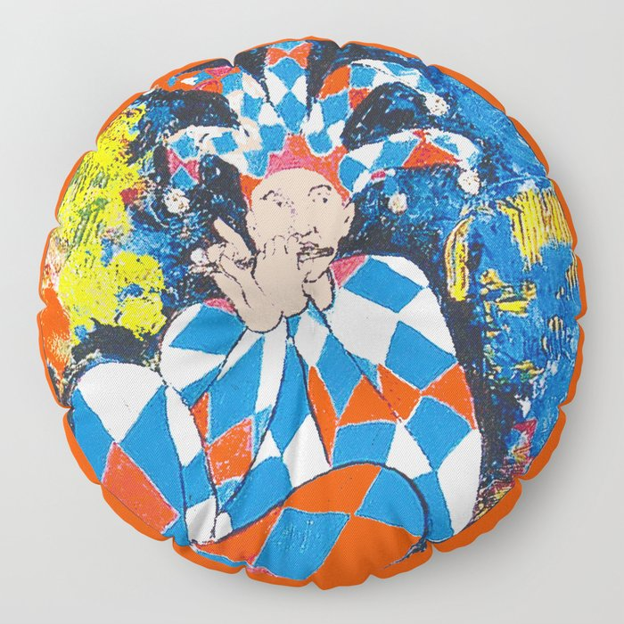 Harleqin plays his Flute           by Kay Lipton Floor Pillow