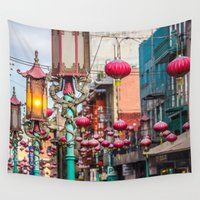 lanterns Wall Tapestries featuring Chinatown Lanterns by World Photos by Paola