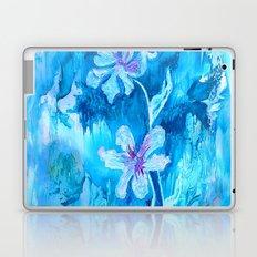 Blue encaustic flowers Laptop & iPad Skin