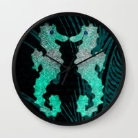 seahorse Wall Clocks featuring SEAHORSE by Catspaws