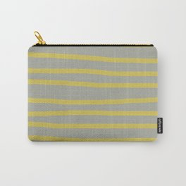 Simply Drawn Stripes in Mod Yellow Retro Gray Carry-All Pouch