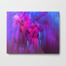 Outrun the Mist - Abstract Pixel Art Metal Print