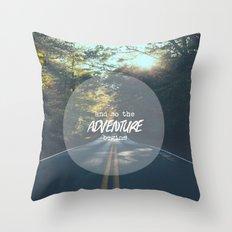 The Adventure Begins Throw Pillow