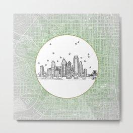 Philadelphia, Pennsylvania City Skyline Illustration Drawing Metal Print