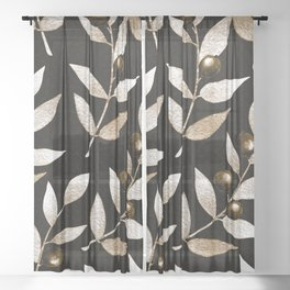 Bronze Berries And Leaves Watercolor Pattern On Black Sheer Curtain