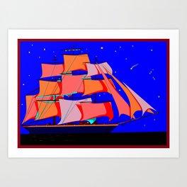 A Clipper Ship at Sea Full Sail at Night under the Stars Art Print