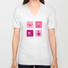Robots-Pink Unisex V-Neck