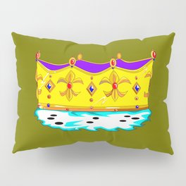 A Royal Crown with a Green Background Pillow Sham