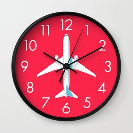 767 Passenger Jet Aircraft - Crimson Wall Clock