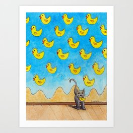 Duck Duck Cat Art Print