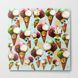 Ice Cream Cones Cartoon Pattern Metal Print