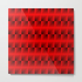 A vertical ribbon of raised squares with intersecting red rectangular triangles and highlights. Metal Print