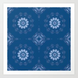 Classic Blue Mandala Art Print