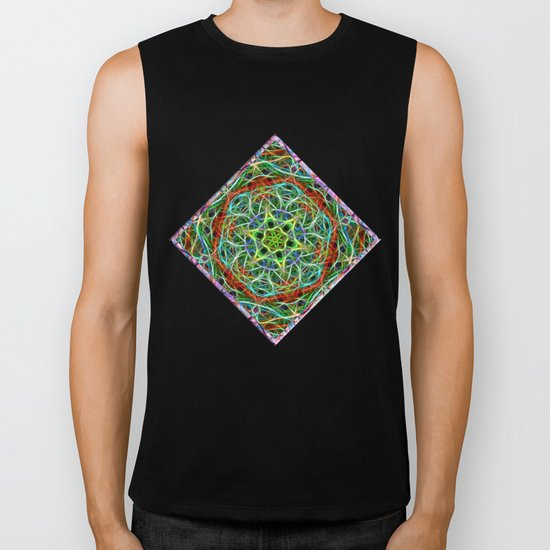 Feathered texture mandala in green and brown Biker Tank
