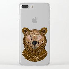Ornate Brown Bear Clear iPhone Case